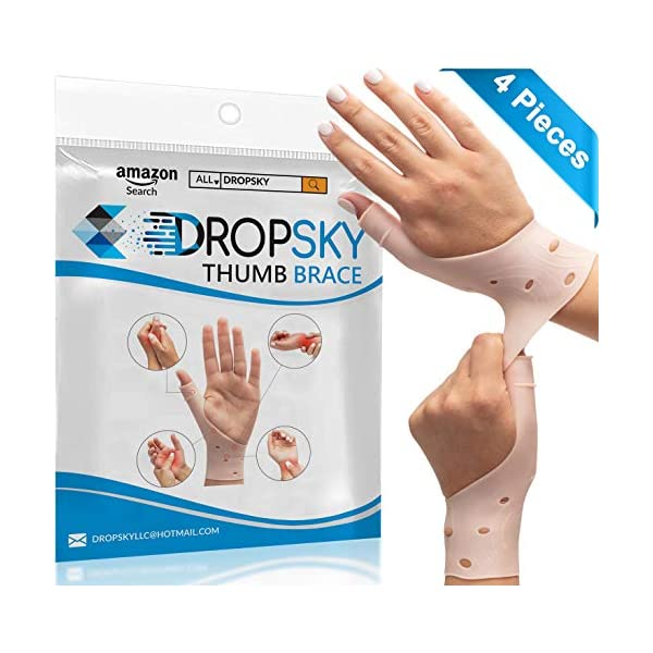 DropSky [4pcs] Gel Wrist Thumb Support Braces Soft Waterproof Breathable, Relief Pain Carpal Tunnel, Arthritis Thumb, Fits Both Hands, Lightweight, Therapy Elastic Silicone, Stabilizer Support [Nude]