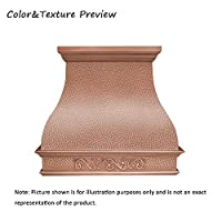 SINDA Handcrafted Custom Copper Range Hood with Commercial Grade Hood SUS304 Vent with Liner and Fan Motor, Baffle Filter, High CFM, with Beehive-Natural CopperH2LABNI4848