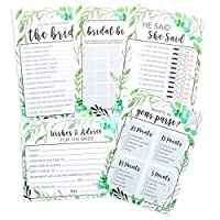 Floral Bridal Shower Games pack with Miss to Mrs Banner and Gold Dots How Well Do You Know The Bride,50 Sheets each Brio Essentials He Said She Said 4 Games including Wedding Advice Cards Whats On Your Phone