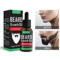 Beard Growth Oil,Natural Organic Unscented Fast Hair Growth Serum Enhancer Facial Nutrition Moustache Grow Beard Care Hair Loss Products for Stonger,Thicker,Longer Hair,1 Oz