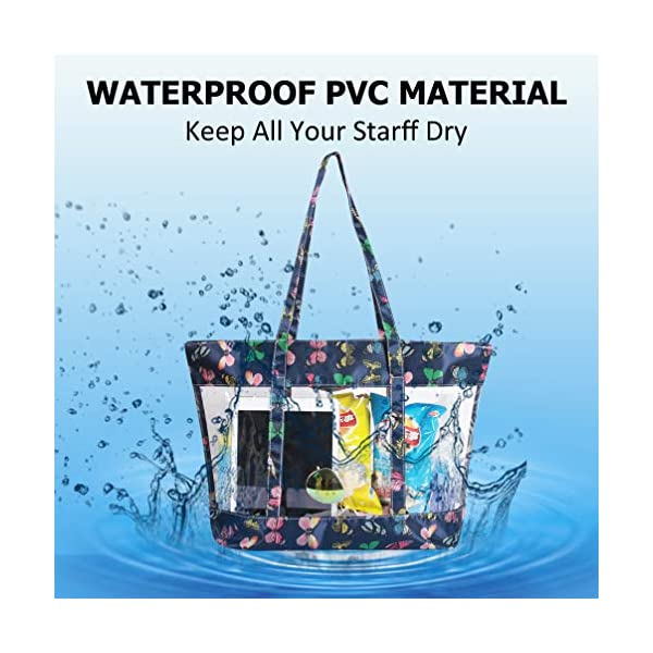 DD DEMOISELLE Transparent Bag Clear Tote Bag Stadium Approved Shoulder Strap and Zippered Top Stadium Security Travel /& Gym Clear Bag Perfect for Work School Sports Games Concerts Beach