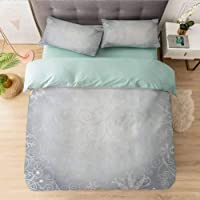 Aishare Store Bedding Duvet Cover Set, Christmas Theme Gentle Frame with Curls Swirls...