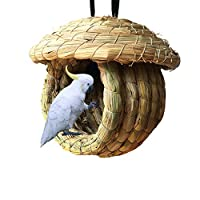 Hamiledyi Birdcage Straw Simulation Birdhouse 100% Natural Fiber - Cozy Resting Breeding Place for Birds - Provides Shelter from Cold Weather - Bird Hideaway from Predators - Ideal for Finch & Canary