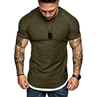 Hmlai Clearance Men's Fashion Short Sleeve Summer Casual Pleated Slim Fit Raglan Hoodie Hipster Solid Cotton Tops Blouses (L, Army Green)