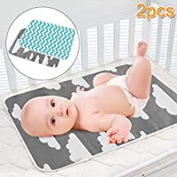 Baby Diaper Changing Pad, Maveek 2 Pack Waterproof Change Mats Infants Portable Diaper Changer Mat for Home,Travel and Outside Idefair(Grey&Green)