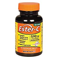 American Health Ester-C with Citrus Bioflavonoids Vegetarian Tablets - 24-Hour Immune Support, Gentle On Stomach, Non-Acidic Vitamin C - 500 mg, 90 Count, 45 Servings