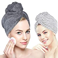 Organic Bamboo Hair Towel - Laluztop Hair Drying Towel Turban Wrap with Button, Anti Frizz Absorbent & Soft Bath Cap for Curly, Long Thick Hair(2 PACK) (White & Dark Gray)
