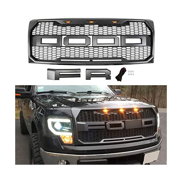 Gloss Black Seven Sparta Raptor Style Grill for Ford F150 2009-2014 Front Grill for F150