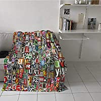 painting-home Custom Blanket Collage Made of Newspaper Clippings Alphabets Cuttings Diversity Letter Image Light Weight Blanket Dried Quickly Without Bunching Up Blue Red Black (30 x 40 Inches)