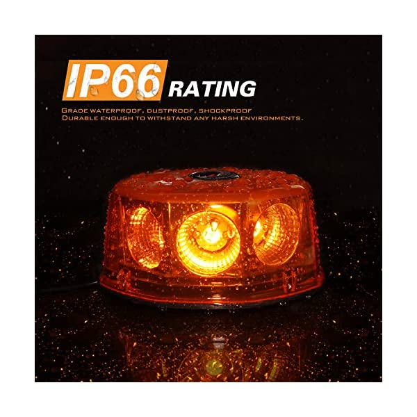 LE-JX 8 COB 12-24 Volt Amber Mini Led Strobe Roof Top Beacon Light Rotating High Intensity Hazard Emergency Warning Lights Bar for Trucks Vehicles Snow Plow Police Firefighters with Magnetic Base