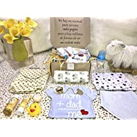 Chic and Deluxe Gift Box Boxycare for Baby, Girl/Boy, 0 to18 Months, Size 1 to 4, More Than 10 Products, Hygiene, Basic, Care, Beauty, Learning and Play Products - Free Diapers and Wipes. (S, Boy)