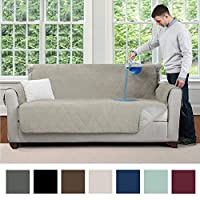 MIGHTY MONKEY Premium Water and Slip Resistant Loveseat Slipcover, Seat Width Up to 54 Inch, Absorbs 4 Cups of Water, Oeko Tex Certified, Suede-Like, Cover for Loveseats, Dog, Love Seat, Taupe