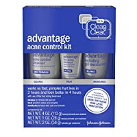 Clean & Clear Advantage Acne Control Kit with Benzoyl Peroxide, Includes Daily Face Wash, Fast Acting Treatment & Hydrating Gel Moisturizer for Acne-Prone Skin, Oil-Free & Non-Comedogenic, 3 piece