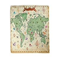 Adowyee 50x60 Inch Soft Decor Throw Blanket Retro Styled Map of The World with Trees Volcano Mountains and Fantasy Monsters Warm Cozy Flannel Bed Blankets for Sofa Couch Chair Living Bedroom