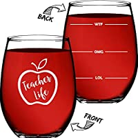 "Teacher Gifts For Women or Men – Appreciation Gifts – 15 OZ Stemless Wine Glass ""Teacher Life"" Funny Christmas Presents For Teachers or Professors – By Funny Bone Products"