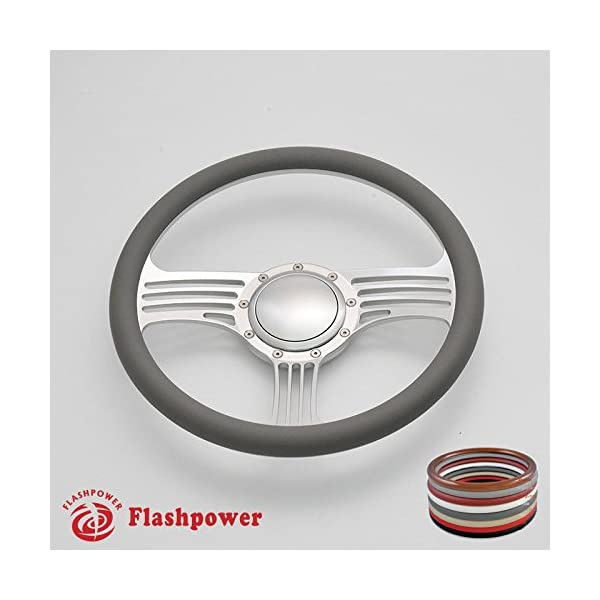 Flashpower 14 Billet 4-slot Half Wrap 9 Bolts Steering Wheel with 2 Dish and Horn Button Light Grey
