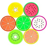 JASSINS Set of 7 Fruit Slice Silicone Coaster Unique & Eye Catching,Especially Design for Your Bar,Kitchen and Patio