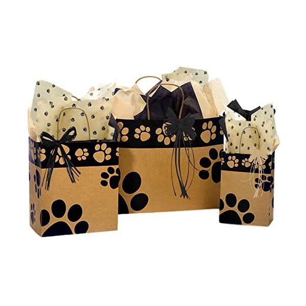 Gift Bags Bundled with Coordinating Tissue Paper and Raffia Ribbon Assorted Sizes Sunflower Polka Dot