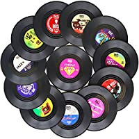 Funny Coasters for Drinks | Set of 12 Vinyl Records Disk Music Lover Drink Coaster Conversation | Housewarming Hostess Gifts, Unique House Warming Present Decor Decorations Wedding Registry Gift Ideas