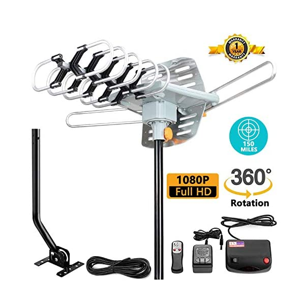 32.8 Coax Cable VS-OTX01 UHF//VHF//1080P Channels Wireless Remote Control Vansky Outdoor 150 Mile Motorized 360 Degree Rotation OTA Amplified HD TV Antenna for 2 TVs Support