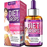 Diet Drops with L-Carnitine - Made in USA - Most Effective Fat Burner - 100% Natural Appetite Suppressant & Metabolism Booster - Weight Loss Drops with L-Arginine, L-Glutamine & Garcinia Cambogia