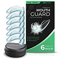 HONEYBULL Mouth Guard for Grinding Teeth [6 Pack - Thin] for Clenching at Night, Whitening & Sports