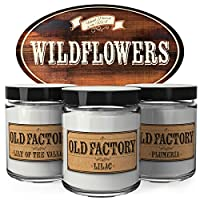 Old Factory Scented Candles - Wildflowers -Decorative Aromatherapy - Handmade in The USA with Only The Best Fragrance Oils - 3 x 4-Ounce Soy Candles