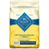 Blue Buffalo Life Protection Formula Healthy Weight Dog Food – Natural Dry Dog Food for Adult Dogs – Chicken and Brown Rice – 30 lb. Bag