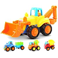 GoStock Friction Powered Cars Push and Go Toys for 1 2 3 Year Old Boys and Girls, 4 Sets Construction Vehicles of Tractor, Bulldozer, Cement Mixer Truck, Dumper, Best Gifts for Your Kids and Toddlers