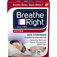 Breathe Right Extra Strength Nasal Strips to Reduce Snoring and Relieve Nose Congestion, Drug-Free, Pack of 26 Tan Nose Strips