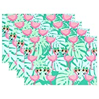 YUEND Vintage 1PC Resistant Placemats for Dinning Table Table Mats Heat Durable Non Slip Tropical Tree Cute Flamingo Animal Kitchen Home