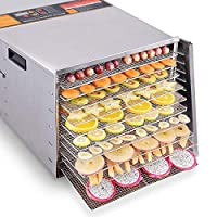 Costzon Professional Food Dehydrator, 1000W Commercial Stainless Steel Food Fruits Preserver With 10 Drying Trays