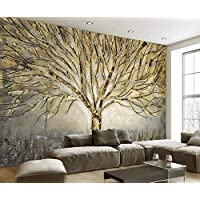 3D Wallpaper Tv Wall Decor Stickerr Relief Golden Metal Tree Oil Painting Modern Wall Paper Wall Stickers for Bedroom Decor
