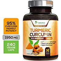 Turmeric Curcumin Highest Potency 95% Curcuminoids 1950mg with BioPerine Black Pepper for Best Absorption, Made in USA, Best Vegan Joint Support Turmeric Pills by Natures Nutrition - 240 Capsules