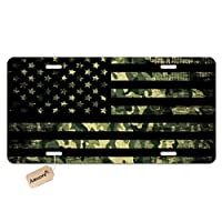 Amcove License Plate Grunge American Flag Decorative Car Front License Plate,Vanity Tag,Metal Car Plate,Aluminum Novelty License Plate for Men//Women//Boy//Girls Car,6 X 12 Inch