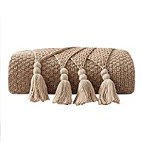 Natural//Ivory Tekkell Bamboo Throw Blanket Ultra Soft Natural Premium for Couch Sofa Bed with Handmade Tassels 90 L x 60 W