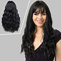 MORICA Black Wig with Bangs Long Curly Wavy Middle Parting Natural Looking Synthetic Heat Resistant Fiber 24 Inches Hair Wigs for Women(Color:Black)