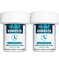 Ebanel 2-Pack 5% Lidocaine Topical Numbing Cream Maximum Strength, 2.7 Oz Pain Relief Cream Anesthetic Cream Infused with Aloe Vera, Vitamin E, Lecithin, Allantoin, Secured with Child Resistant Cap