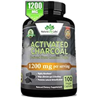 Organic Activated Charcoal Capsules - 1,200 mg Highly Absorbent Helps Alleviate Gas & Bloating Promotes Natural detoxification Derived from Coconut Shells - per Serving - 100 Vegan Capsules