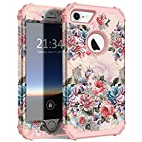 Hocase iPhone 8 Case iPhone 7 Case, Shockproof Protection Heavy Duty Hard Plastic+Silicone Rubber Bumper Full Body Protective Case for iPhone 8, iPhone 7 (4.7-Inch Display) - Peony Flowers/Rose Gold