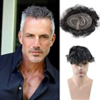 Rossy&Nancy Toupee for Men Mono Lace with Poly PU 10x8inch Men's Wigs Hairpieces Replacement System Natural Wave 80% 1B Off Black Human Hair mixed 20% Grey Synthetic Hair