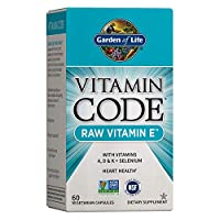 Garden of Life Vitamin E - Vitamin Code Raw Vitamin E with Vitamins A, D & K Plus Selenium, Non-GMO & Gluten Free Whole Food Supplement for Heart Health, 60 Vegetarian Capsules *Packaging May Vary*