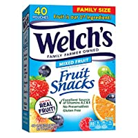 Welch's Fruit Snacks, Mixed Fruit, Gluten Free, Bulk Pack, (40 Count of 0.9 oz Pouches) 36 oz