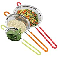 K BASIX Fine Mesh Stainless Steel Strainer with Silicone Handle Set of 3 - Large, Medium & Small Size - Ideal to Strain Pasta, Noodles, Quinoa, Tea, Sift & Sieve Flour & Powdered Sugar - Free EBook