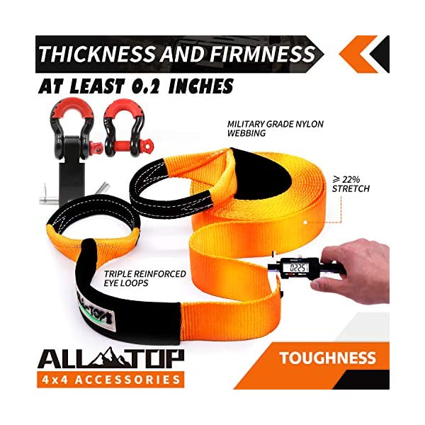 with Isolator +Storage Bag 32,000 lbs 3//4 HD Shackles ALL-TOP Nylon Recovery Kit with Hitch Receiver: 3 x20 2pcs 100/% Nylon Snatch Strap +2 Shackle Hitch Receiver