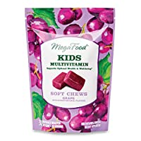 MegaFood, Kids Multivitamin Soft Chews, Daily Supplement, Supports Child Development and Growth, Vegetarian, Grape, 30 Chews (30 Servings)