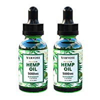 Vervose | Organic Hemp Oil 5000mg (2 Pack) | Anxiety Relief, Sleep Aid, Inflammation and Weight Loss | All Natural | Vegan | Made in The USA (5000mg)