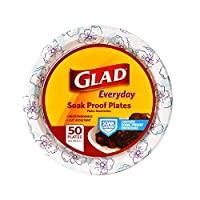 Glad Round Disposable Paper Plates for All Occasions | New & Improved Quality | Soak Proof, Cut Proof, Microwaveable Heavy Duty Disposable Plates | 10