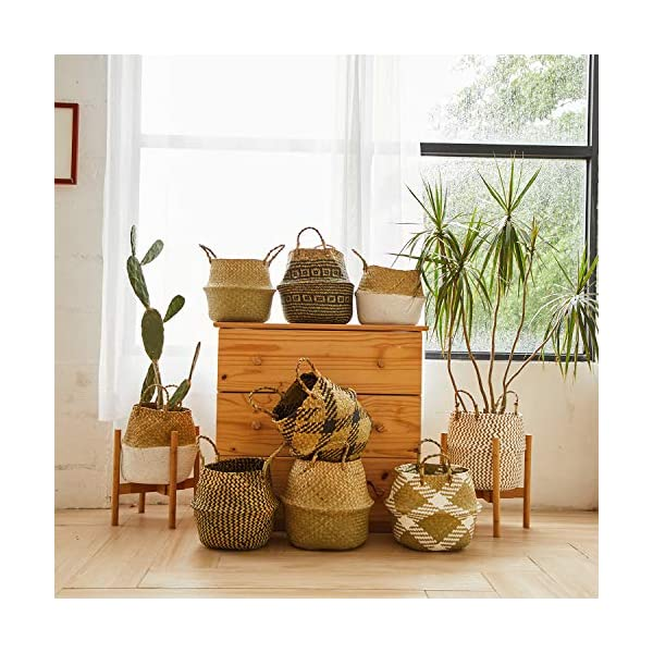 Picnic and Woven Straw Beach Bag Natural Craft Seagrass Belly Basket Zigzag Black Laundry for Storage Medium Plant Pots Cover Indoor Decorative Plush Criss-Cross Seagrass Black
