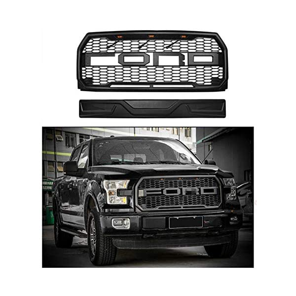 XLT /Including XL Matte Black King Ranch LARIAT Seven Sparta Front Grill for F150 2018 2019 Platinum and Limited,/Raptor Style Grille for Ford with Side LED Lights